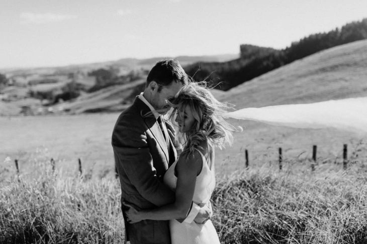 Bohemian Tauranga Wedding in Te Puna with Hip couple at a family orchard