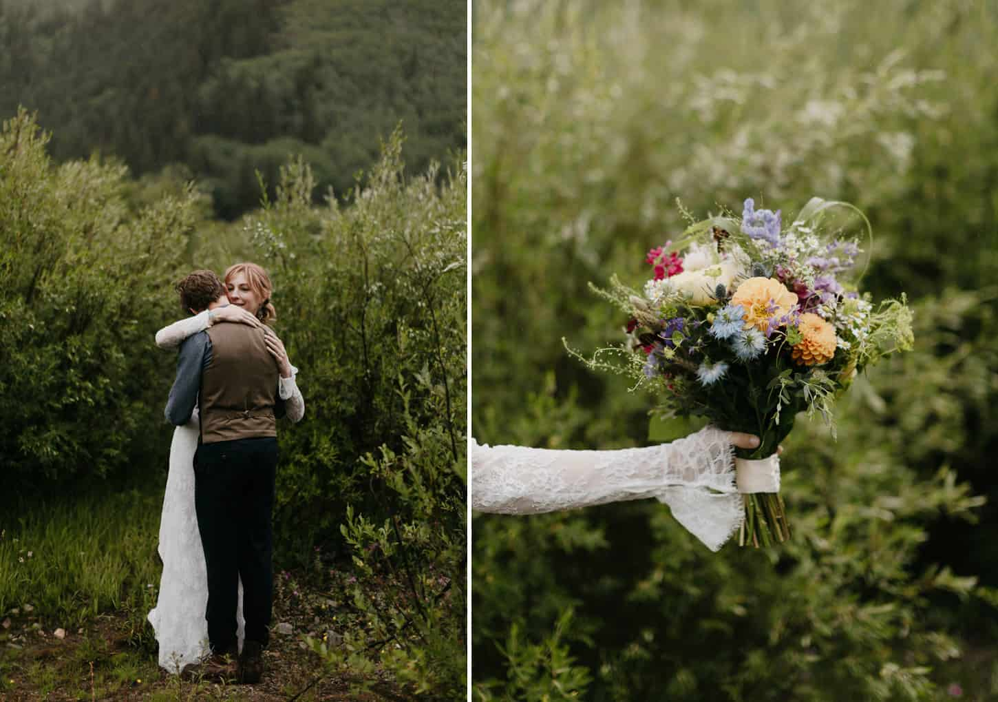 bridal bouquet full of wildflowers and natural colors