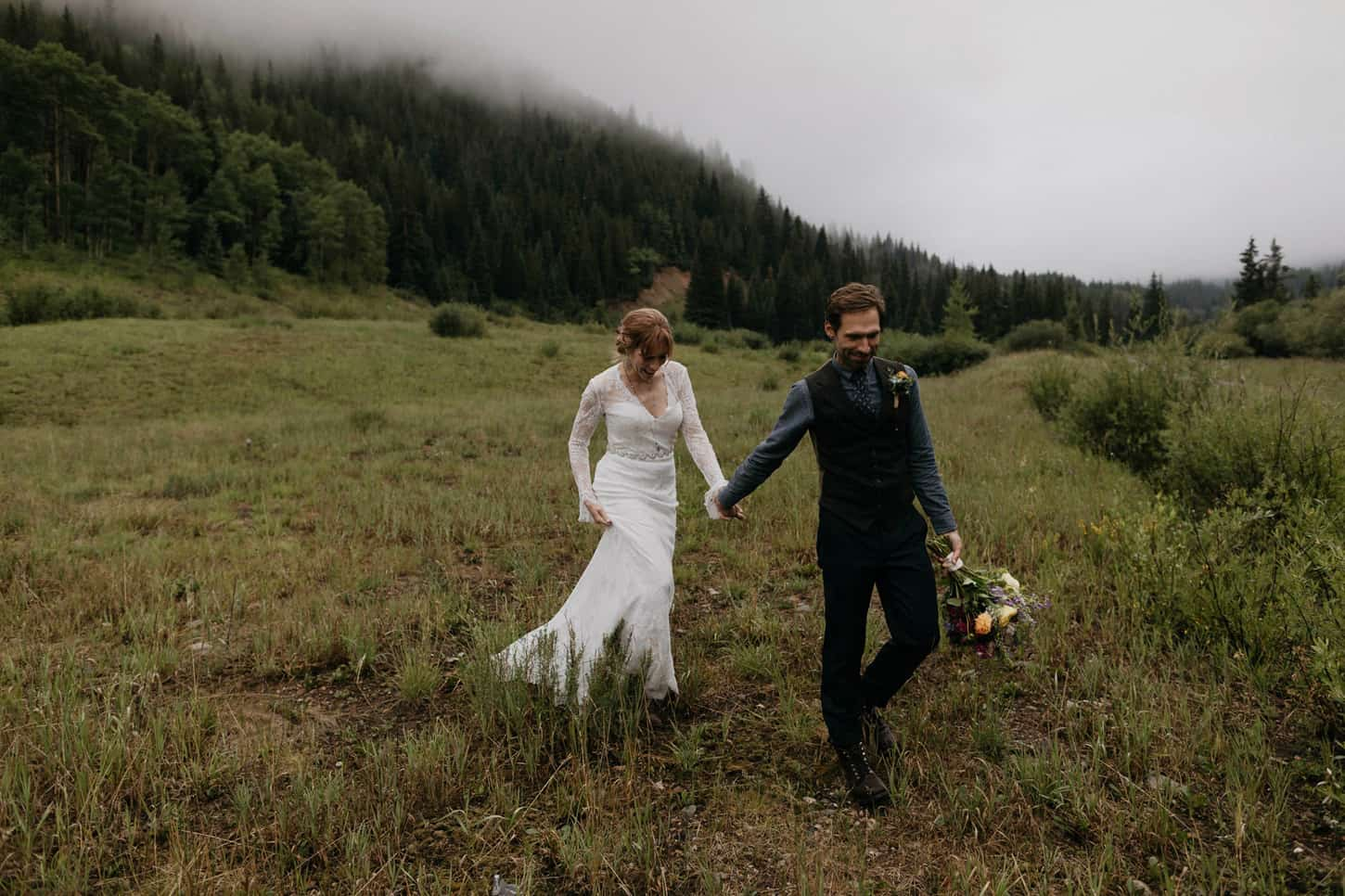 hipster couple on their wedding day in colorado