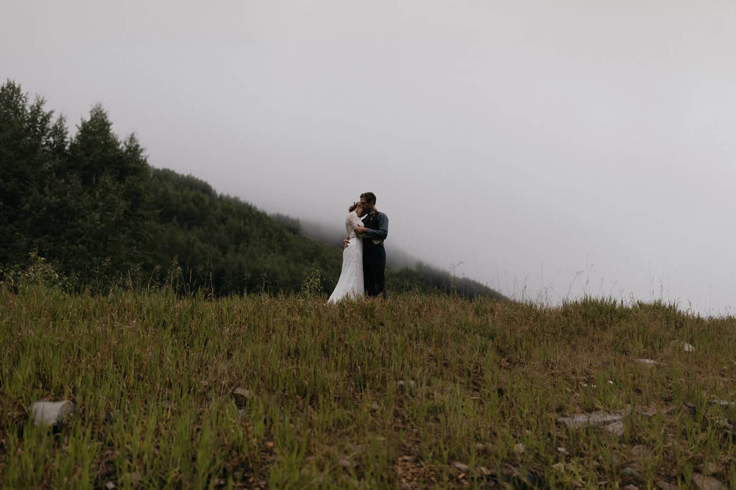 moody emotional and dark wedding photography in the mountains of Colorado