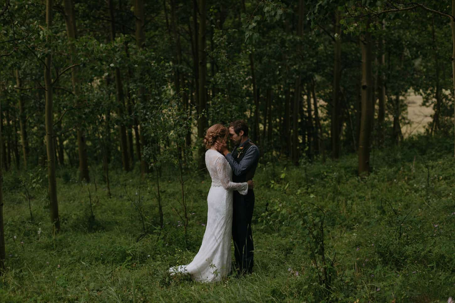 elopement in an aspen grove in colorado forest