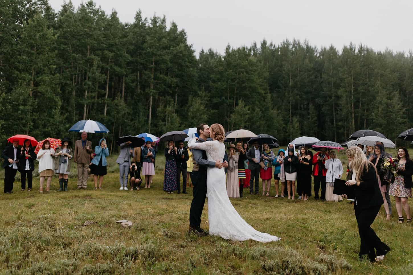 couples first kiss during wedding ceremony